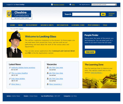 Cheshire Police Intranet Mockup