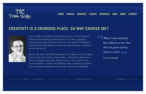 Freelance Copywriter Website Screenshot